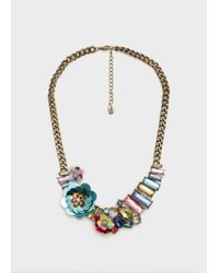 Mango | Metallic Crystal Chain Necklace | Lyst