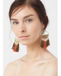 Mango - Metallic Tassel Earrings - Lyst