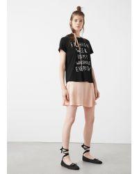 Mango | Black Printed Message T-shirt | Lyst