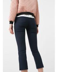 Mango - Blue Cotton Trousers - Lyst