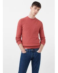 Mango Black Textured Cotton Sweater for men