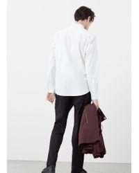 Mango - White Slim-fit Mao Collar Shirt for Men - Lyst