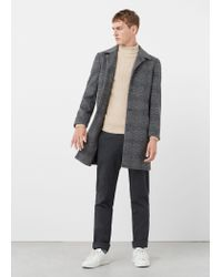 Mango - Gray Prince Of Wales Wool-blend Coat for Men - Lyst