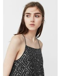 Mango   Gray Sequin Embroidery Top   Lyst