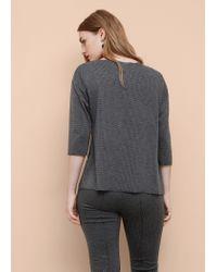 Violeta by Mango Gray Houndstooth T-shirt