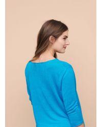 Violeta by Mango - Blue Fine-knit Linen Sweater - Lyst