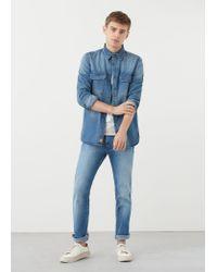 Mango Blue Medium Denim Overshirt for men