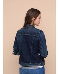 Violeta by Mango - Blue Dark Wash Denim Jacket - Lyst