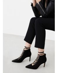Mango - Black Heel Lace-up Ankle Boots - Lyst