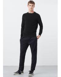 Mango - Black Ribbed Cotton-blend Sweater for Men - Lyst