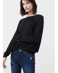 Mango - Black Fine-knit Sweater - Lyst