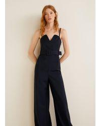 Mango Blue Belt Long Jumpsuit