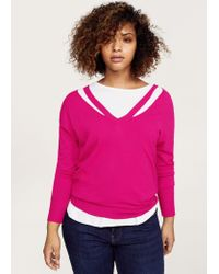 Violeta by Mango - Pink Neck Cut-out Sweater - Lyst