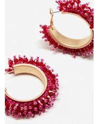 Mango | Metallic Bead Loop Earrings | Lyst