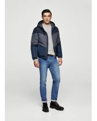 Mango - Blue Contrast Panels Quilted Coat for Men - Lyst