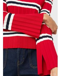 Mango Red Striped Embossed Sweater