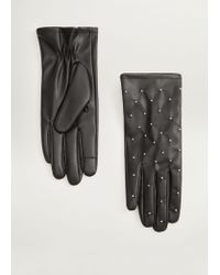 Mango Black Studded Touch-screen Gloves