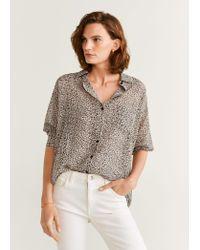 Mango Black Buttoned Printed Shirt