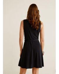 Mango Black Bow Wrap Dress