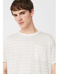Mango - White Striped Linen-blend T-shirt for Men - Lyst