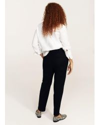 Violeta by Mango | Black Straight Cotton Trousers | Lyst