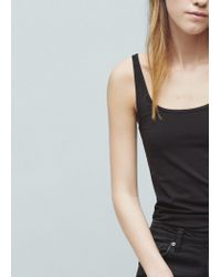 Mango - Black Strap Cotton T-shirt - Lyst