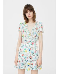 Mango | White Floral Wrap Dress | Lyst