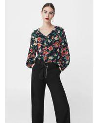 Mango   Black Floral Print Blouse   Lyst