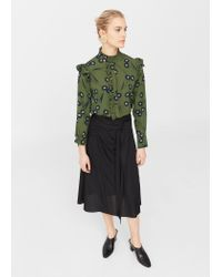 Mango | Green Ruffle Printed Blouse | Lyst