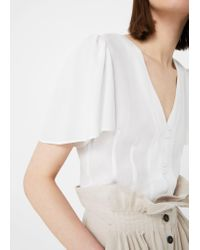 Mango - White Buttoned Flowy Blouse - Lyst