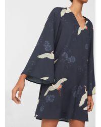 Mango   Blue Flowy Printed Dress   Lyst