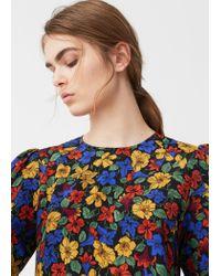 Mango - Black Floral Print Blouse - Lyst