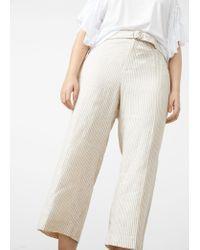 Violeta by Mango Multicolor Cropped Linen-blend Trousers