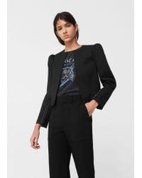 Mango   Black Structured Cotton-blend Jacket   Lyst