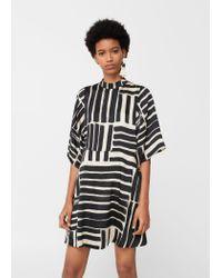 Mango | Black Printed Flared Dress | Lyst