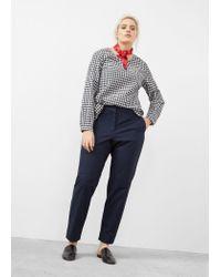 Violeta by Mango | Blue Straight Cotton Trousers | Lyst