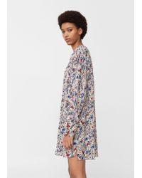 Mango | Blue Floral-print Flowy Dress | Lyst