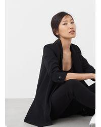 Mango | Black Ruched Sleeves Blazer | Lyst