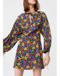 Mango   Black Floral-print Flowy Dress   Lyst