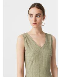 Mango   Green Metallic Thread Dress   Lyst