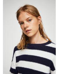 Mango Blue Ribbed Knit Sweater