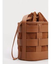 Violeta by Mango | Brown Leather Bucket Bag | Lyst