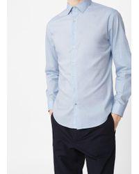 Mango   Blue Slim-fit Cotton Shirt for Men   Lyst