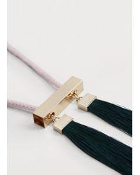 Violeta by Mango | Green Tassel Pendant Necklace | Lyst