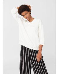 Mango   White Embroidered Cotton Sweatshirt   Lyst