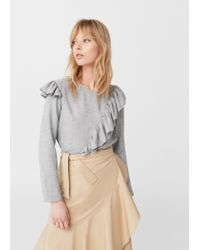 Mango - Gray Decorative Ruffle Blouse - Lyst