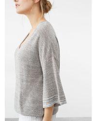 Violeta by Mango | Gray Fine-knit Metallic Sweater | Lyst