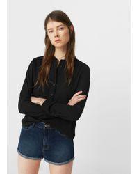 Mango - Black Mao Collar Blouse - Lyst