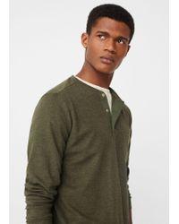 Mango Green Henley Cotton T-shirt for men