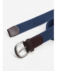 Mango | Blue Leather-appliqué Braided Belt | Lyst